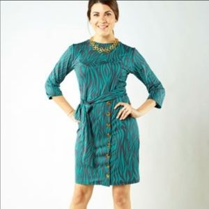 Tracy Negoshian Abstract Zebra Jersey Dress